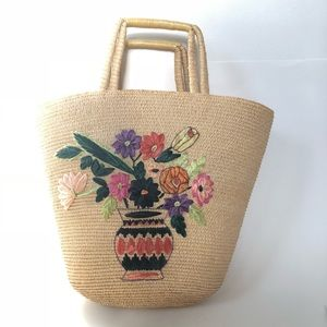 Vintage Floral Wicker Straw Tote Handbag Purse